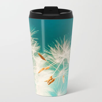 delicate dandelion in turquoise Metal Travel Mug by Anabprego