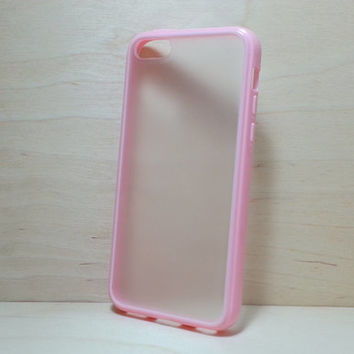 Silicone Bumper and Translucent Frosted Hard Plastic Back Case for iphone 5c - Light Pink