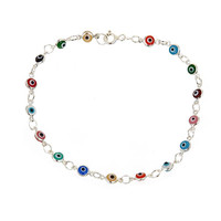"Ben & Jonah 925 Sterling Silver Multi Colored Evil Eye 8"" Bracelet"