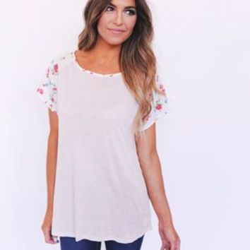 Blush Floral Sleeve Top