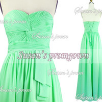 2014 Mint Green Strapless Draped Chiffon Dresses, Prom Dress,Evening Dress,Wedding gown,Party Dress