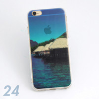 Beautiful Island Scenery Print Soft TPU Transparent Phone Back Case Cover Shell For iPhone 5 5S 6 6s 6 Plus 6s Plus 7