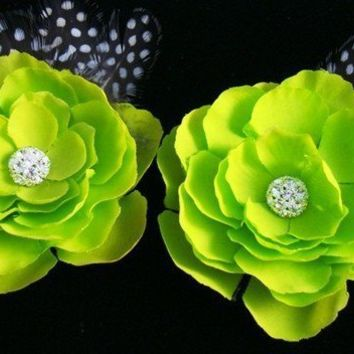 Set of 2 Apple Green Flowers with Rhinestone by OliniFloral