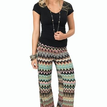 Rock 47 Women's Seafoam and Pink Multicolored Print Palazzo Pant