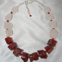 Bold Red Bamboo Coral Statement Necklace, Raw Crystal Quartz Jewelry
