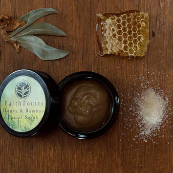 Honey & Bamboo Scrub, Brightening Facial Exfoliant Mask by Earthtonics Skin Care