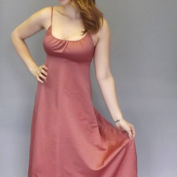 Vintage 1970s Dusty Rose Salmon Pink Formal Bridesmaid Maxi Dress Party Prom Gown Size Medium Princess Goddess Romantic Fairy Queen