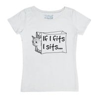 If I Fits I Sits Funny Cat Lover Humor-Female White T-Shirt