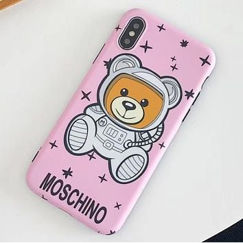 Moschino Tide brand classic star astronaut Teddy bear iPhone X mobile phone case soft shell cover pink