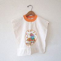 Vintage SESAME STREET Retro Prairie Dawn Terry Cloth Washcloth Kids Bib