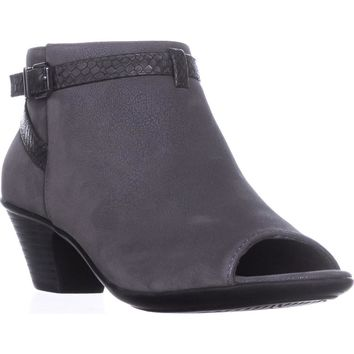 Easy Street Sparrow Peep-Toe Ankle Booties, Grey/Snake, 8 US