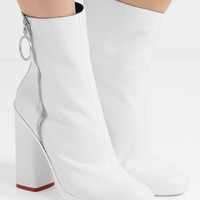 Off-White - Grosgrain-trimmed leather ankle boots