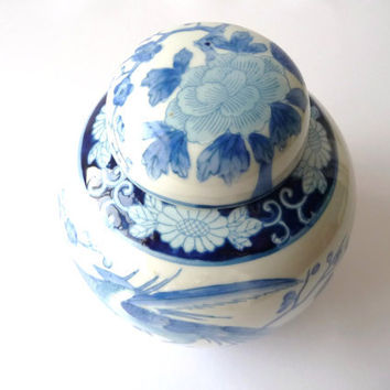 Antique Blue & White China Porcelain Pot - Vase - Vintage - Macau