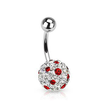 Clear/Red Ferido Crystal Polka Dots Ball Belly Ring