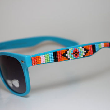 Hand Beaded Tribal Wayfarers BLue by brownbeadednet on Etsy