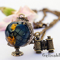 3D world globe and telescope pendant travel trip necklace,Journey To The Center Of The Earth  NGE01