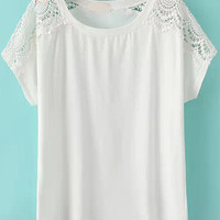 White Lace Embroidered Short Sleeve T-Shirt