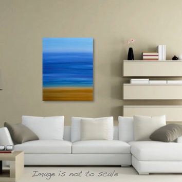Minimalist Abstract Beach Painting - Ocean Seascape Canvas Acrylic Wall Art - Gold, Yellow, Blue, Purple - 24 x 30 Vertical - FREE SHIPPING