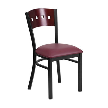 Flash Furniture HERCULES Series Black Decorative 4 Square Back Metal Restaurant Chair