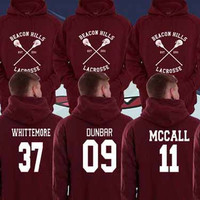Hoodie Teen Wolf Beacon Hills Maroon Stilinski 24, Mccall 11, Lahey 14,Dunbar 09 Unisex Adults Made in by USA