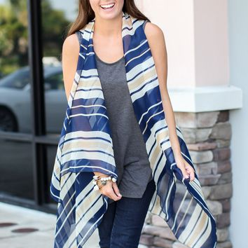 Scarf Vest - Navy Stripes