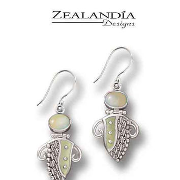 Zealandia Designs Abstract Lady Fossilized Walrus Ivory Earrings