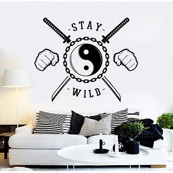 Vinyl Wall Decal Stay Wild Zen Yin Yang Asian Martial Arts Stickers Unique Gift (ig4451)