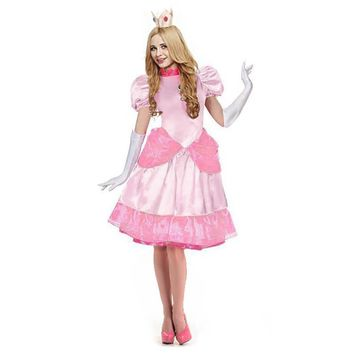 Super Mario party nes switch Dulexe Princess Peach Costume Adult  Brothers Princess Fancy Classic Game Dress Halloween Costume for Women AT_80_8