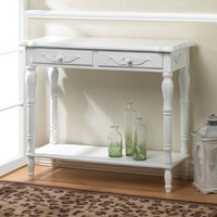 Carved White Hallway Accent Table