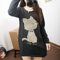 Long T shirt cute kitty