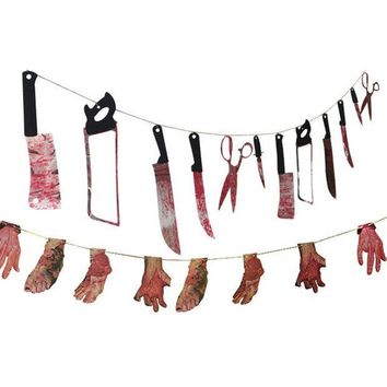 ESBONHS 1 Spooky Halloween Party Haunted House Hanging Garland Pennant Banner Decoration  NB0440