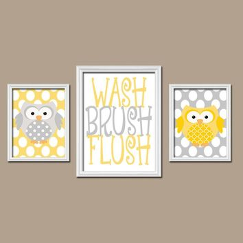 OWL Bathroom Wall Art, Owl Kid Bath Decor, CANVAS or Print, Yellow Gray, Brother Sister, Boy Girl Child, Wash Brush Flush, Set of 3 Pictures