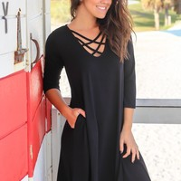 Black Criss Cross Short Dress with 3/4 Sleeves