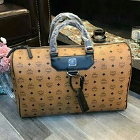 MCM Fashion Women Leather Tote Handbag Travel Luggage Bag Brown I-WXZ2H