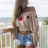 Wild Roses Taupe Off the Shoulder Flower Crop Top