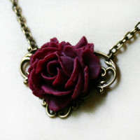 Victorian Red Rose Necklace by robinhoodcouture on Etsy
