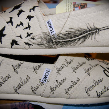 Feather to Flight TOMS by ShoeDesignsByAllison on Etsy