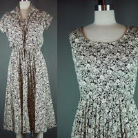 70s Dress Set Vintage 1970s Bolero Brown White Floral Sleeveless Verona Fit Flare S M  4 6