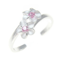 925 Sterling Silver Hawaiian Double Plumeria Flower Pink CZ Open Toe Ring