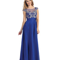 Royal Chiffon & Beaded Filigree Gown