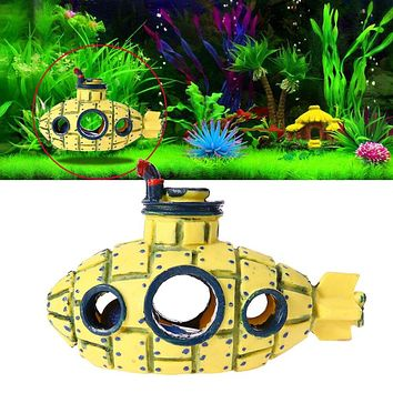 Resin Aquarium Submarine Fish Tank Decoration Ornaments Wreck Aquatic Fish Hiding Cave Landscaping Decoration
