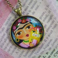 FRIDA Kahlo and Cat Antique Bronze Glass Tile Round PENDANT NECKLACE with chain by LuLu