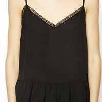 ASOS Lace Insert Peplum Cami Top - Black
