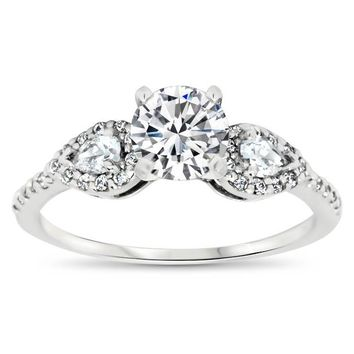 Dainty Pear Shaped Diamond Setting Moissanite Engagement Ring - Jess