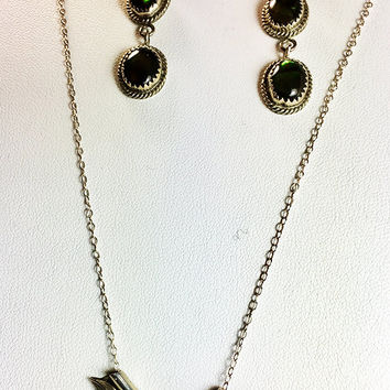 Native American Cherokee Sterling Paua Shell Necklace and Long  Earrings Vintage