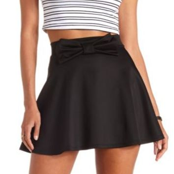 Bow-Front High-Waisted Skater Skirt by Charlotte Russe - Black