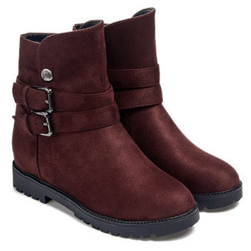 Short Boots With Double Buckle and Suede Design