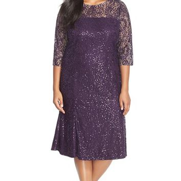 Plus Size Women's Alex Evenings Sequin Lace Tea Length Dress with Illusion Yoke & Sleeves,