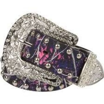 Women's Muddy Girl Camo Bling Rhinestone Belt Small