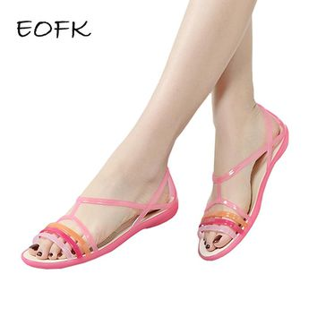 EOFK 2018 Women Sandals Summer New EVA Casual Mixed Candy Colors Soft Slip On Beach Jelly Shoes Woman Flat Sandals